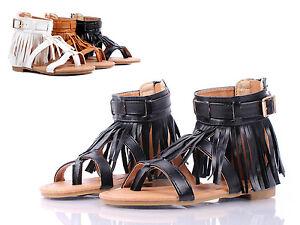 6ba7d8223d1 Details about Black Toddler Indian Style Fringe Kids Cute Girls Gladiators  Sandals Size 9