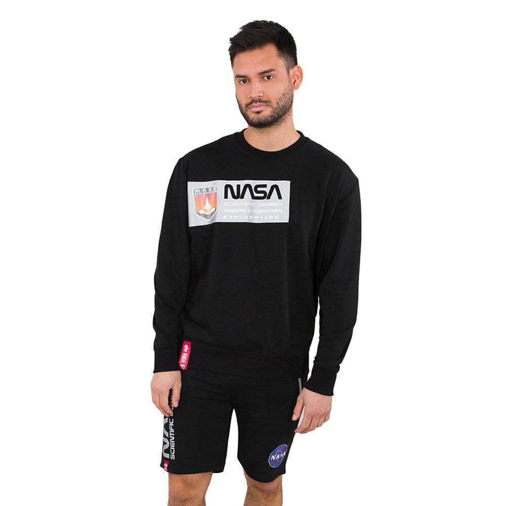Alpha Industries Mens NASA Mars Reflective Sweatshirt (Black)