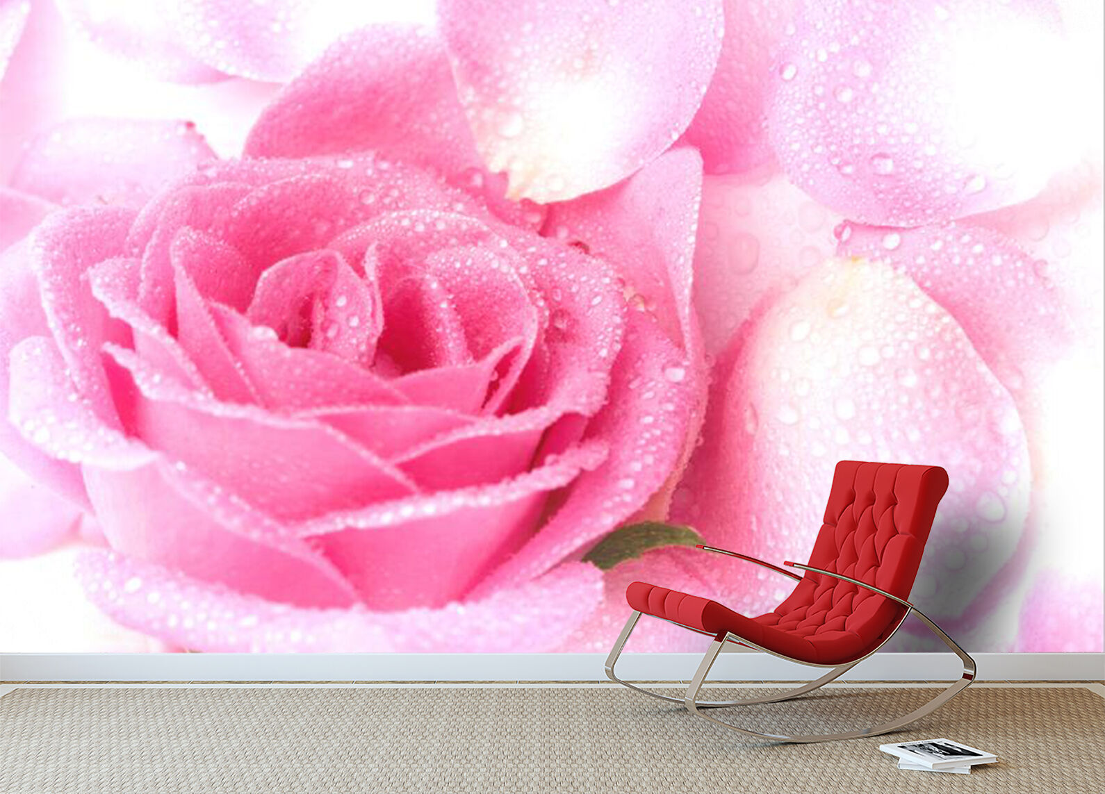 3D Délicat Rose 092 Photo Papier Peint en Autocollant Murale Plafond Chambre Art