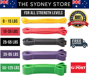 AUS-STOCK-HEAVY-DUTY-RESISTANCE-BANDS-FITNESS-GYM-FITNESS-YOGA-PULL-UP-TRAINING