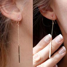 Fashion Women Golden Plated Long Dangle Bar Alloy & Resin Hook Ear Stud Earrings