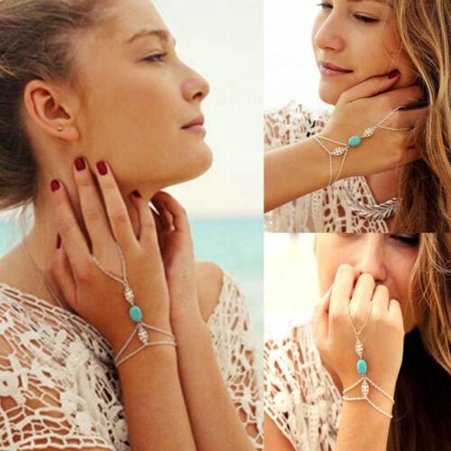 Celebrity Gold Multi Chain Tassel Slave Finger Ring Hand Harness Bangle Bracelet
