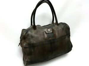 Numero-10-Brown-Tasche-Monzeglio-Tartan-Leather-Hand-Made-Unisex-Bag-RRP-1200