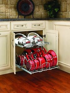 Image Is Loading Pull Out Cabinet Rack Cookware Organizer Pots Pans