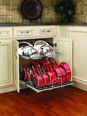 Pull Out Cabinet Rack Cookware Organizer Pots Pans Lids Holder Kitchen Storage