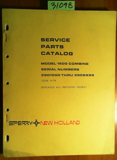 1500 Nh Combine: New Holland 1500 Combine Service Parts Catalog Manual S/N