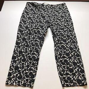 Talbots Heritage Fit Crop Black Rose Floral Print Pants Plus Size 22W A859