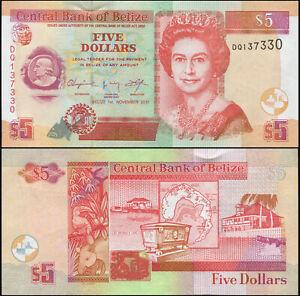 Belize 5 Dollars. UNZ 01.11.2011 Banknote Kat# P.67e