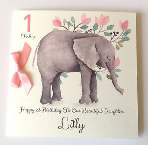 Image Is Loading Personalised Watercolour Elephant 1st Birthday Card Daughter Grandaughter