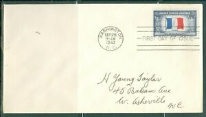 US-FDC-915 OVER RUN COUNTRIES FRANCE cancel.WASHINGTON DC.SEPT.28-1943 ADDR