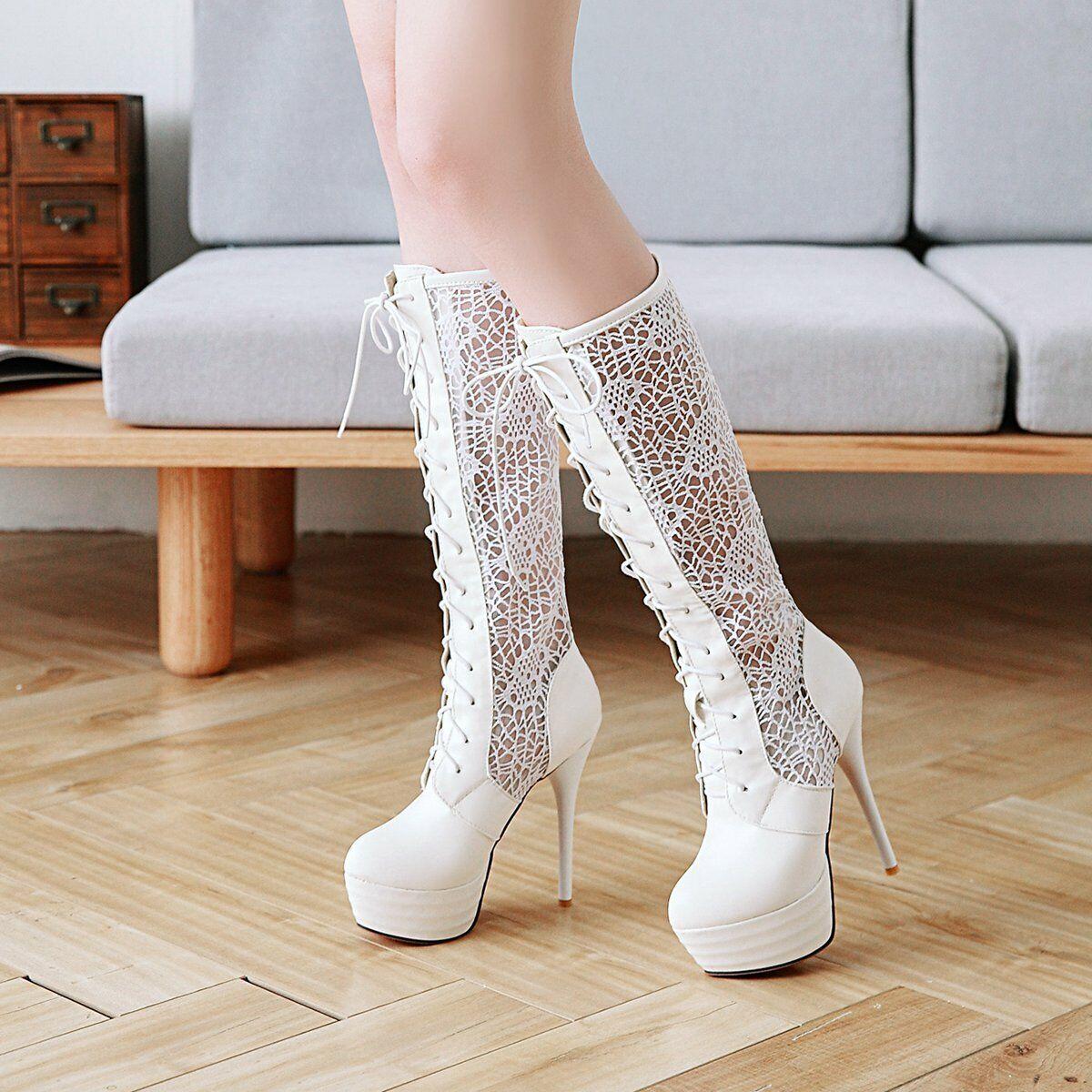 Lace Boots Pumps Women's Elegant High Heels Lace up shoes TOP New Mesh Sandals