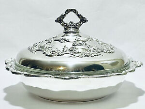 Magnificent Antique Beautiful Ornate Gorham English Casserole Dish Silver Plated