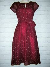 LINDY BOP 1940'S-50'S STYLE  POLKA DOT SWING TEA DRESS SIZE UK 8 NEW
