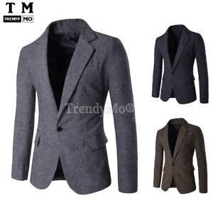 Men S Slim Fit Stylish Smart Casual Contrast Blazer Coat Suit Jacket