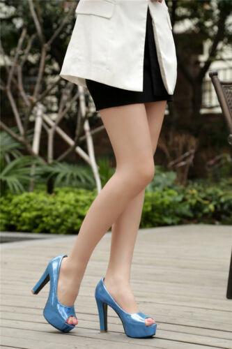 Womens Peep Toe High Heels Pumps Sandals Shiny Platform Shoes Slip On Club Party