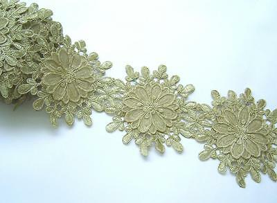 golden ^Trim Embroidered Lace Sewing Sari Dress Border India 1 Yd,13 cms wide
