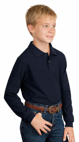 Port Authority Youth Metal Buttons Long Sleeve Silk Touch Polo Shirt Y500LS