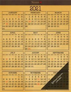 """2021-12 Month MiHeart Magnetic Refrigerator Calendar 8.5/""""x11/"""""""