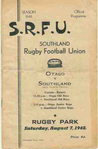 NZ ALL BLACKS RUGBY INTERNATIONAL TRIAL PROGRAMME 7 Apr 1948 at Invercargill