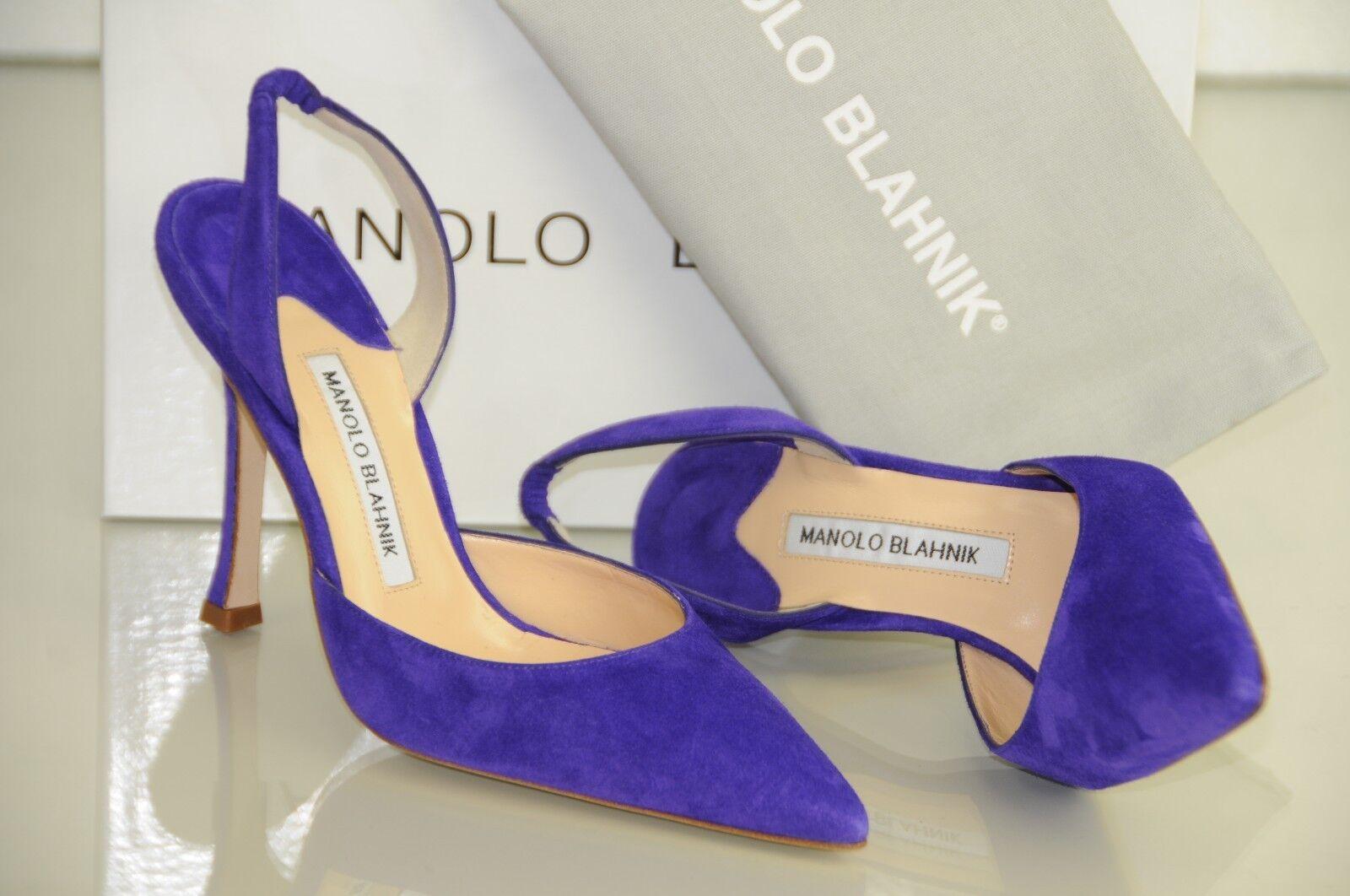 695 Nueva Manolo BLAHNIK BLAHNIK BLAHNIK de gamuza tacón alto BB Carolyne Púrpura Halter Zapatos 37 41  suministramos lo mejor