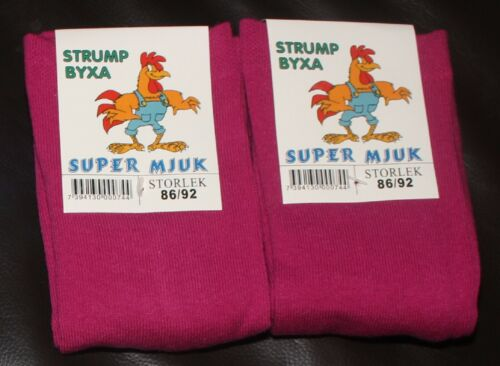 2 Pairs of CERISE PINK Girls Thick Cotton Rich Warm Winter TIGHTS 18-24 Months