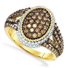 Chocolate-Brown-amp-White-Diamond-Ring-10K-Yellow-Gold-Oval-Cluster-Ring-1-20ct