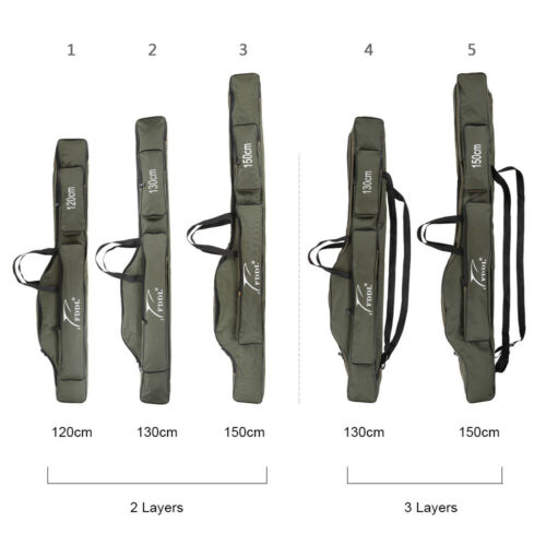 2//3Layers Portable Fishing Rod Carrier Canvas Fishing Pole Fishing Gear Bag S7X8