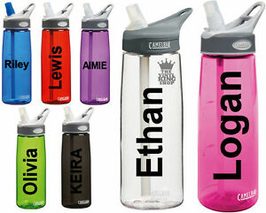 2 x Personalised Name Stickers for Drinks Bottle Gym Bike Water Plain Font sport