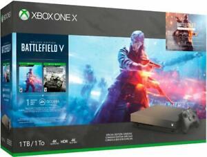 Xbox One X 1TB Console – Gold Rush SE Battlefield V Bundle - New Open Retail Box