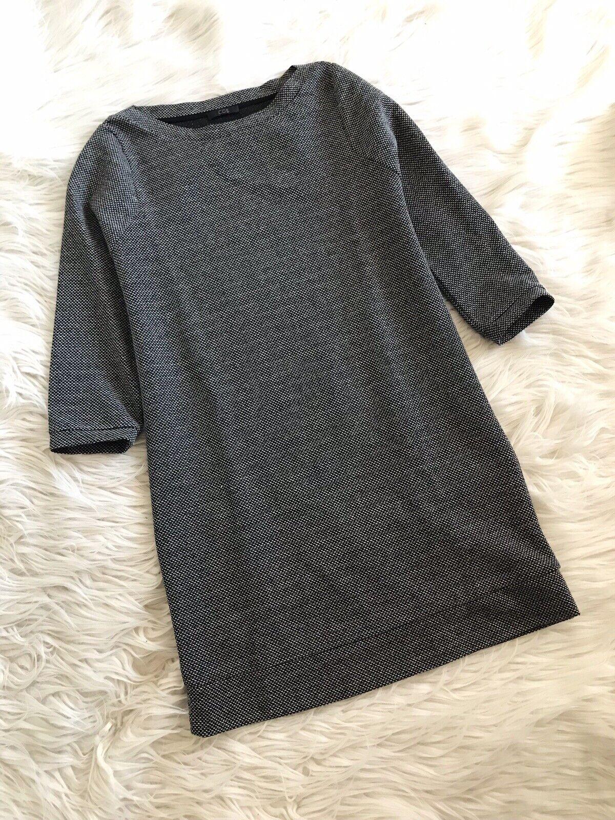 COS Damenkleid Kleid Kastig Business Leger Schwarz Weiß Meliert Grau XS S 34 36