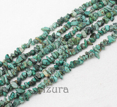 """4-11mm x 34"""" Strand African Turquoise Semi Precious Gemstone Chips Gravel Beads"""