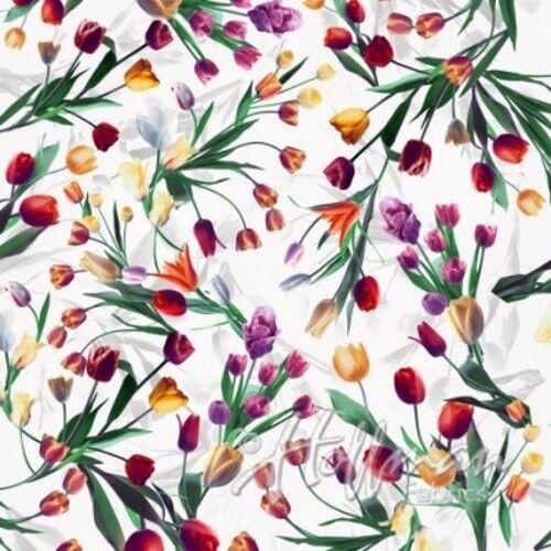 Hoffman All Purpose Flower Q4434 3 White Tulip Toss Digital Cotton Fabric