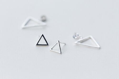 925 Sterling Silver Triangle Post Earrings Ear Jacket A1216