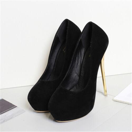 Femmes Hommes Noir Haut talons compensés Crossdresser Drag Queen aiguille Big Chaussures