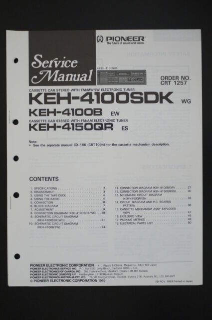 Pioneer Keh 4100b  4150qr Original Service Manual