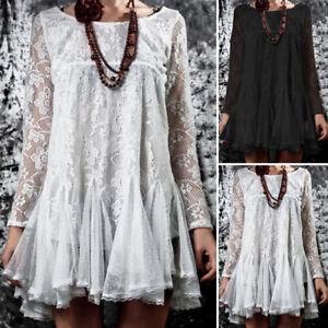 Mode-Femme-Chemise-Robe-Patchwork-en-dentelle-Deux-Piece-Manche-Longue-Haut-Plus