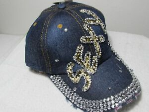New womens hat Sexy bling gems baseball cap denim brim worn look NEW ... 7b7f76ee005