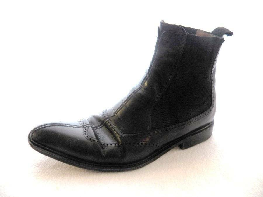 Testoni Black Label Mens 9 Leather Ankle Chelsea Boots Stretch Panel ITALY
