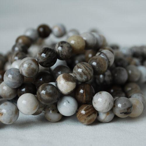 Natural Grade A Silver Leaf Jasper grey Gemstone Round Beads 4mm 6mm 8mm 10mm