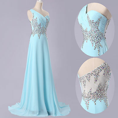 SEXY Beaded Formal Evening Bridesmaid Party Ball Gown Wedding Long Prom Dresses