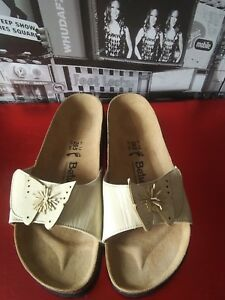 327b97f99fa Image is loading BIRKENSTOCK-BETULA-beige-Patent-Butterfly-Slide-Sandals -Women-