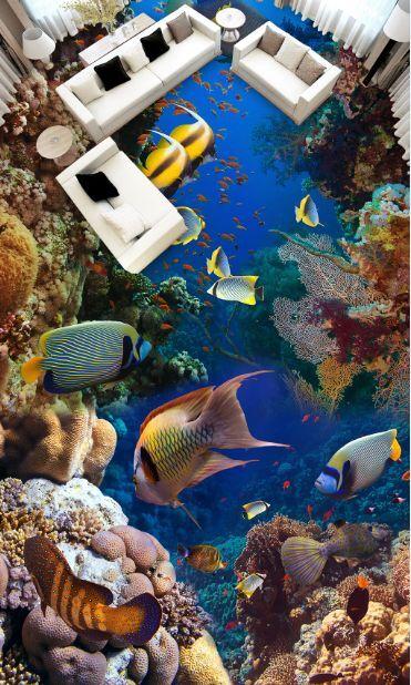 3D Netter fetter Fisch 277 Fototapeten Wandbild Fototapete BildTapete FamilieDE