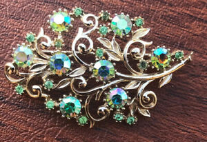 Vintage-Coro-Floral-Leaf-Aurora-Borealis-Rhinestone-Large-Brooch-Pin-1-5-x2-5