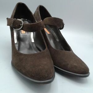 Via-Spiga-Womens-Brown-Suede-Leather-Mary-Jane-3-034-Heels-Size-8-5-M
