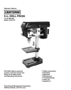 craftsman 124 47747 drill press owners instruction manual ebay rh ebay com Drill Press Owner Manuals Duracraft Drill Press Parts Manual