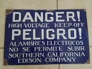 Vintage Southern California Edison Co. Danger High Voltage Porcelain Sign RARE!