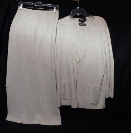 COLETTE MORDO  Sadimara 3 Pc Ivory SPARKLE Skirt Skirt Skirt Suit Set Womens Size M B44 d7444c