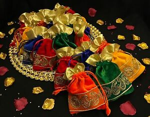 Mehndi Party Bags : Assorted wedding favour table decoration velvet party bags