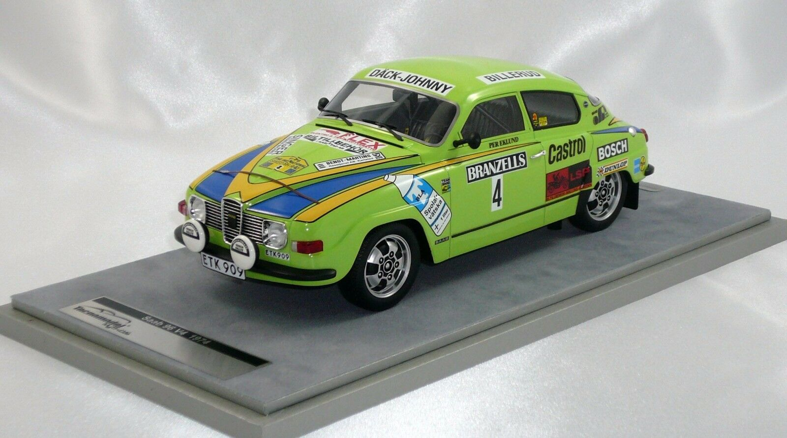 SAAB 96 V4 WINNER SWEDISH RALLY 1976 EKLUND-CEDEBERG 1 18 TECNOMODEL 75 Pc only