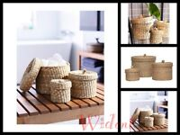 Ikea Ljusnan Set Of 3 Handmade Seagrass Jar Organizer With Lid